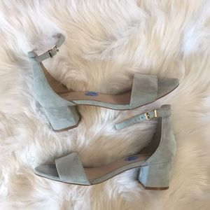 Free People Baby Blue Suede Ankle Wrap Sandals